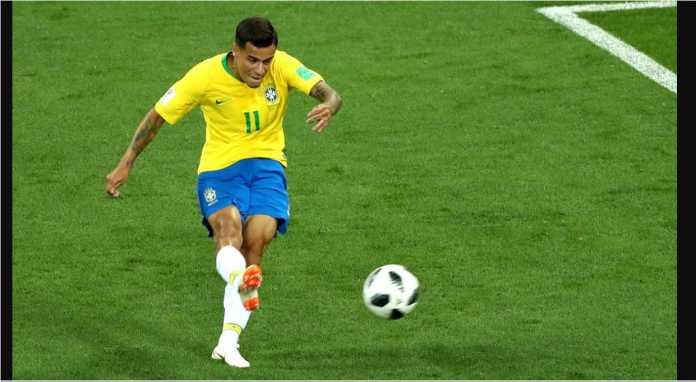 Pemain Liverpol Philippe Coutinho membawa Brasil unggul 1-0 atas Swiss pada laga Piala Dunia 2018, Senin dinihari.