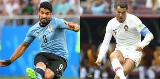Luis Suarez dan Cristiano Ronaldo akan memimpin lini depan masing-masing pada laga 16 besar Piala Dunia 2018 antara Uruguay vs Portugal, Minggu dinihari