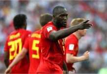 Romelu Lukaku merayakan satu golnya bersama Belgia, Senin malam, pada laga Piala Dunia 2018 melawan Panama.