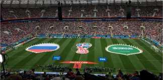 Adegan sesaat sebelum laga Rusia vs Arab Saudi di Piala Dunia 2018 dimulai