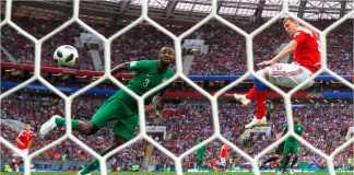 Gol ketiga oleh Artem Dzyuba pada laga Rusia vs Arab Saudi pada laga pembukaan Piala Dunia 2018