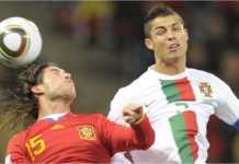 Portugal vs Spanyol menyajikan sejumlah pemain Real Madrid di dalamnya. Ronaldo membela Portugal, sementara Sergio Ramos di kubu Spanyol.