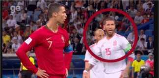 Sergio Ramos berusaha memberitahu kipernya, David De Gea, soal arah tujuan tendangan penalti Cristiano Ronaldo. Sayangnya usaha itu gagal.
