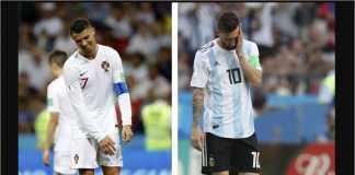 Hari pertama 16 besar Piala Dunia 2018 melihat tersingkirnya Cristiano Ronaldo dan Lionel Messi, dua pemain terbaik dunia sejauh ini.