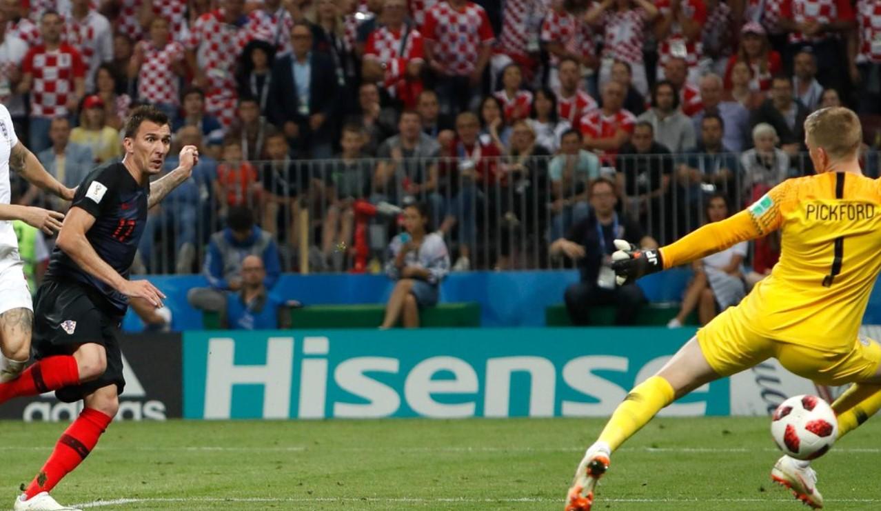 Gol Mario Mandzukic, Kroasia vs Inggris, Semifinal Piala Dunia 2018