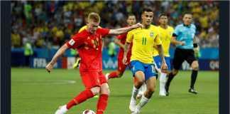 Tendangan geledek Kevin de Bruyne di babak pertama membawa Belgia unggul 2 gol atas Brasil pada paruh pertama laga perempat final mereka.