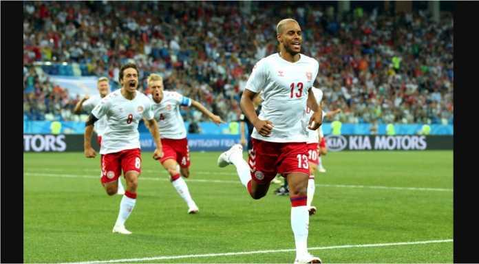 Mathias Joergensen, merayakan gol cepat, belum lagi 1 menit, pada laga Kroasia vs Denmark, Piala Dunia 2018.