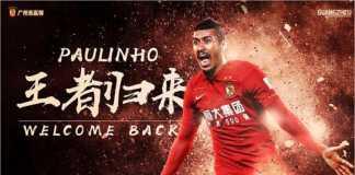 Pemain Brasil, Paulinho, kembali ke Guangzhou Evergrande setelah hanya satu tahun berkarir di Barcelona.
