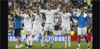 Pemain Real Madrid yang tersisa pada babak semi final Piala Dunia 2018 adalah Mateo Kovacic, Luka Modric, dan Raphael Varane (berturut-turut ketiga, kelima dan keenam dari kiri).