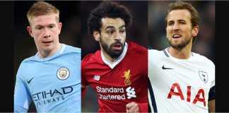 Kevin de Bruyne, Mohamed Salah, Harry Kane