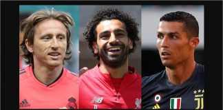 Luka Modric, Mohamed Salah, Cristiano Ronaldo