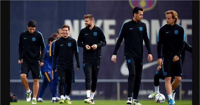 Suarez, Messi, Pique, Busquets, Rakitic, Barcelona