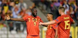 Romelu Lukaku merayakan dua golnya untuk Belgia pada laga UEFA Nations League melawan Swiss, Sabtu dinihari
