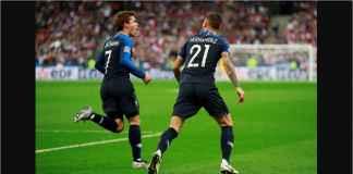 Striker Prancis Antoine Griezmann merayakan gol bersama pemberi assist Lucas Hernandez, Rabu dinihari WIB, saat melawan Jerman pada ajang UEFA Nations League