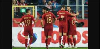 Gol pertama Portugal oleh Andre Silva dirayakan pemain lainnya pada laga UEFA Nations League di kandang Polandia, Jumat