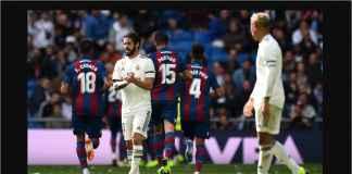 Real Madrid tertinggal dua gol pada akhir babak pertama laga Liga Spanyol melawan Levante, Sabtu malam