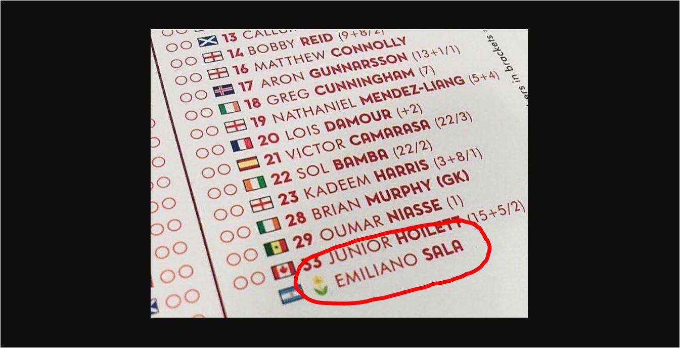 Mengharukan Nama Emiliano Sala Masuk Susunan Pemain Arsenal