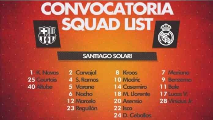 Real Madrid Umumkan Daftar Skuadnya di Laga Kontra Barcelona