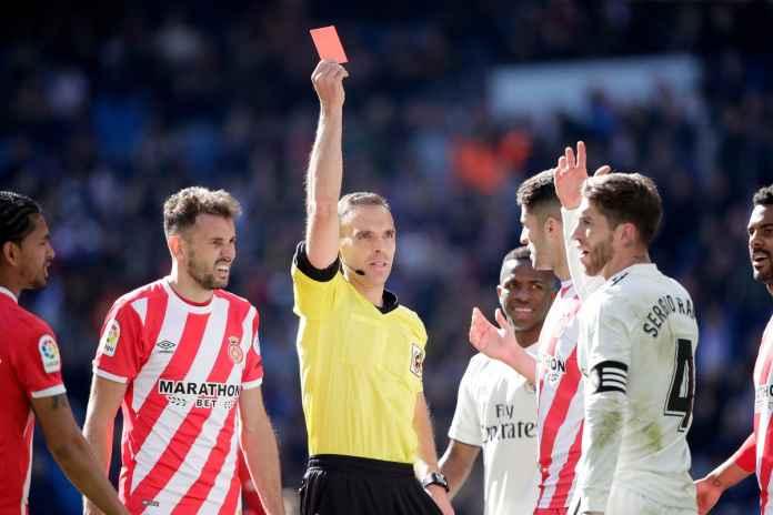 Liga Spanyol - Real Madrid vs Girona, kartu merah Sergio Ramos