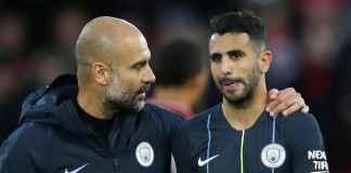 Pep Guardiola dan Riyad Mahrez, Manchester City