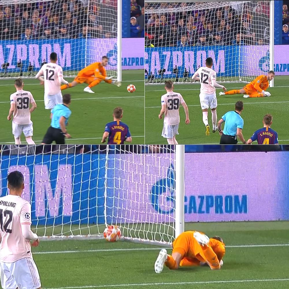 David de Gea gagal tangkap bola saat gol kedua Lionel Messi