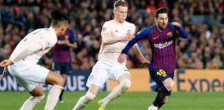 Lionel Messi dalam laga Barcelona vs Manchester United