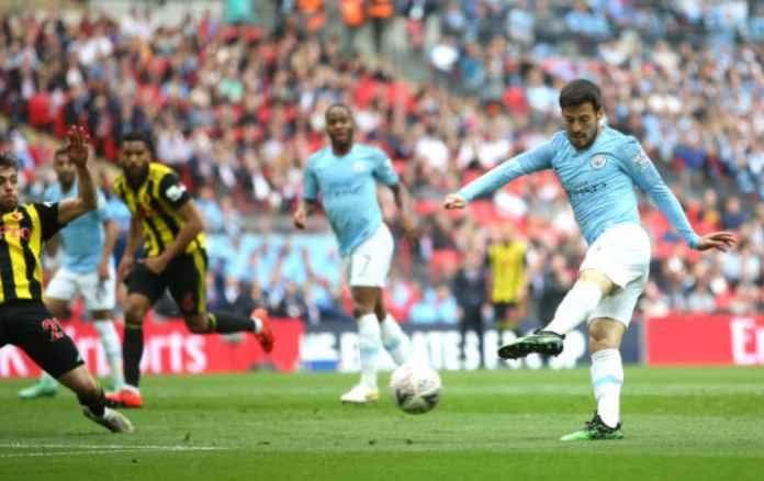 David Silva cetak gol pertama dalam laga Final Piala FA antara Manchester City vs Watford