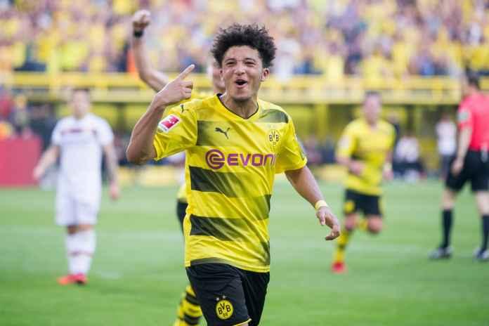 Jadon Sancho usai mencetak gol dalam laga antara Borussia Monchengladbach vs Borussia Dortmund
