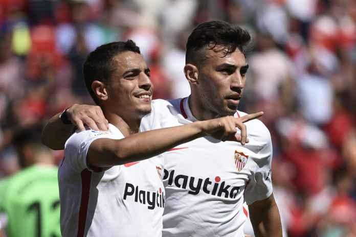 Wissam Ben Yedder merayakan gol di laga Sevilla vs Athletic Bilbao