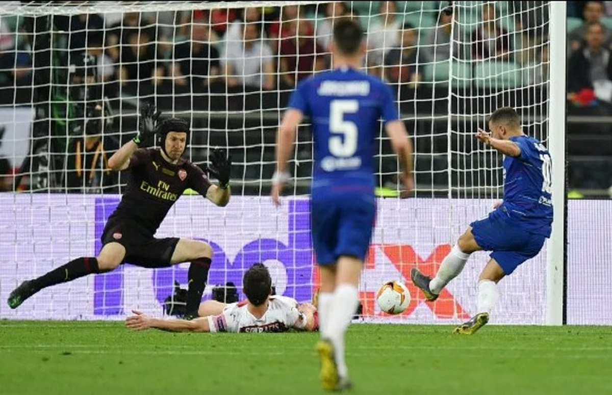 Petr Cech Saat Final Liga Europa 2019 Kontra Chelsea di Baku.