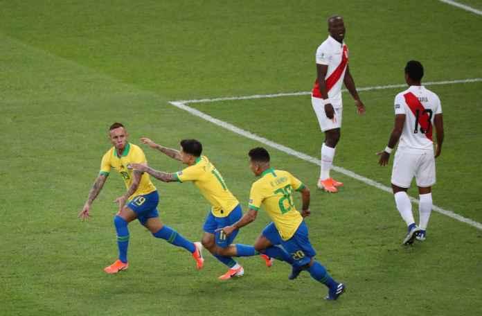 Everton Souso Soarez cetak gol pertama Brasil vs Peru di Final Copa America 2019