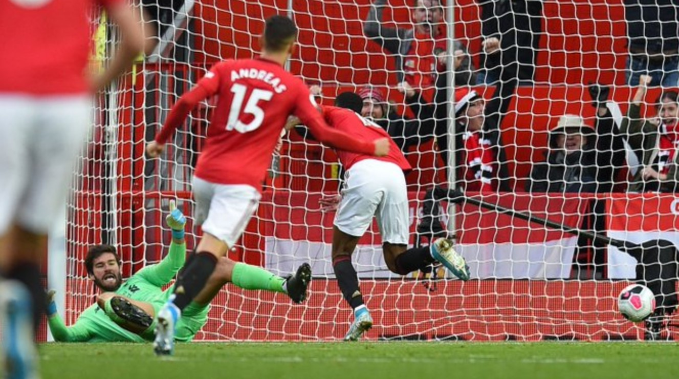 Hasil gol pertama Manchester United - Marcus Rashford
