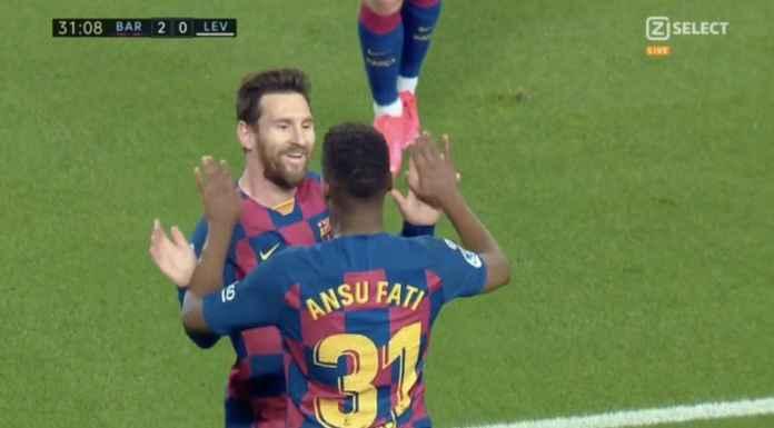 Hasil Barcelona vs Levante di Liga Spanyol - Ansu Fati dan Lionel Messi