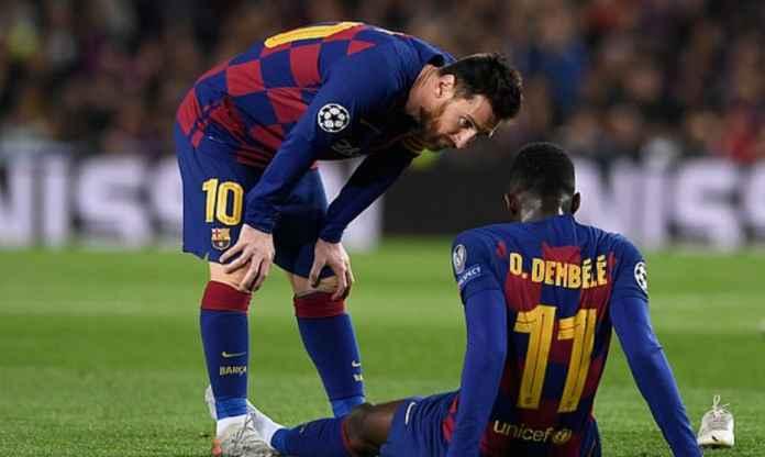 Lionel Messi dan Ousmane Dembele - Barcelona
