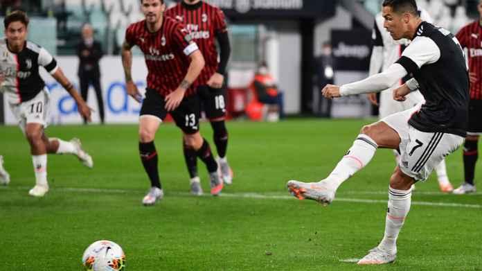 Cristiano Ronaldo di laga Juventus vs AC Milan di leg kedua babak semifinal Coppa Italia