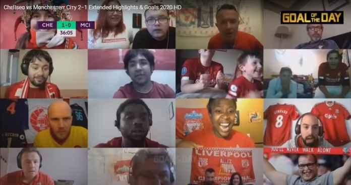 Fans Liverpool rayakan gol Christian Pulisic dalam laga kemenangan Chelsea atas Manchester City
