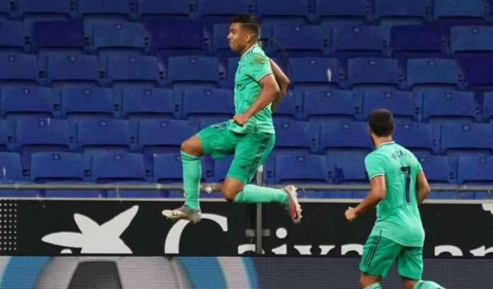 Hasil Espanyol vs Real Madrid di Liga Spanyol Casemiro merayakan golnya