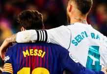 Dua bintang Barcelona dan Real Madrid - Lionel Messi dan Sergio Ramos