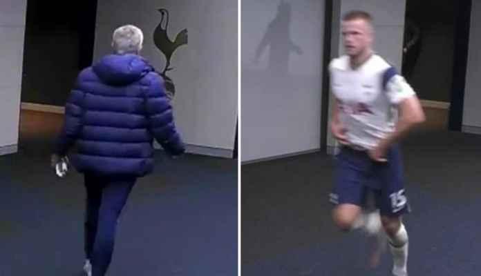 Pemain Tottenham Hotspur Eric Dier saat insiden lari keluar lapangan dan dikejar Jose Mourinho