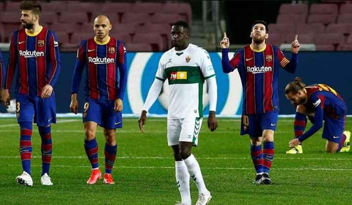 Rapor Pemain Barcelona 3-0 Elche, Messi Dua Gol Teknik Tinggi, Braithwaite Dua Assist
