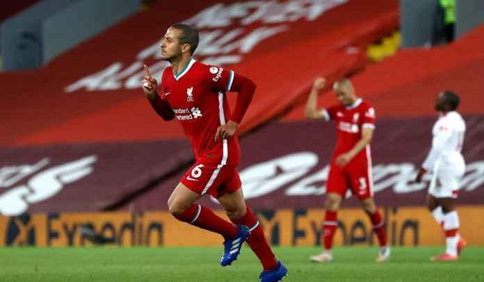 Setelah 26 Laga & 1843 Menit, Thiago Akhirnya Cetak Gol Pertamanya Untuk Liverpool