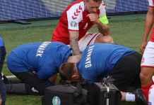 Christian Eriksen saat terkena serangan jantung di laga Denmark vs Finlandia di Euro 2020