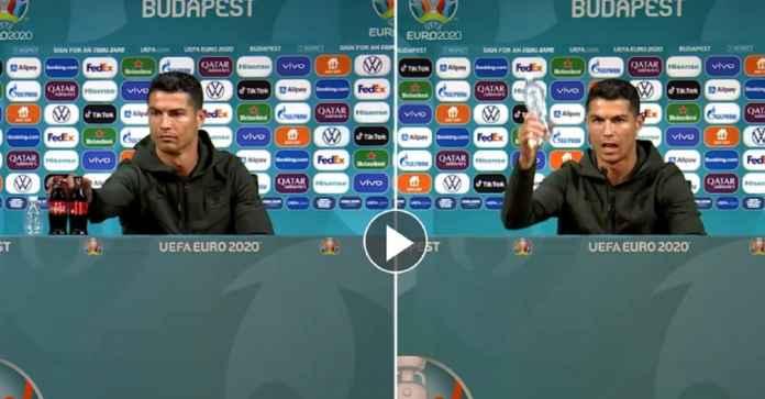 Begini Momen Cristiano Ronaldo Acak-acak Meja Konferensi Pers Jelang Hongaria Kontra Portugal