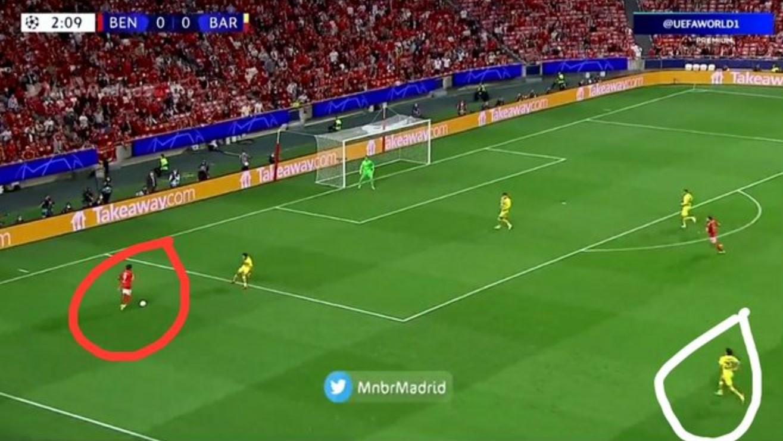 Darwin Nunez dan posisi Sergi Roberto di gol pertama Benfica vs Barcelona